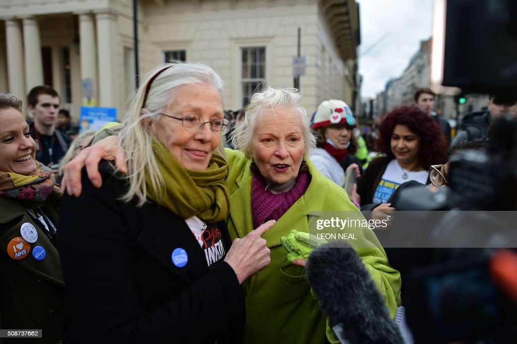 British actress Vanessa Redgrave (L) and British fashion designer and activist Vivienne Westwood (C) join demonstrators during a protest in central London on February 6, 2016, against the British governments' plans to change contracts for junior doctors. Many doctors also claim that Prime Minister David Cameron's government is not providing enough resources for the widely cherished, state-run National Health Service (NHS), founded by a socialist government in 1948 to provide free care. / AFP / LEON NEAL