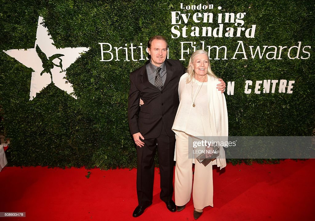 British actress Vanessa Redgrave (R) poses on arrival for the British film awards in central London on February 7, 2016. / AFP / LEON NEAL