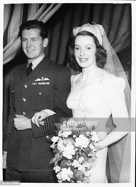British actresss Deborah Kerr marrying Squadron Leader Anthony Bartley at Hanover Square London 1945