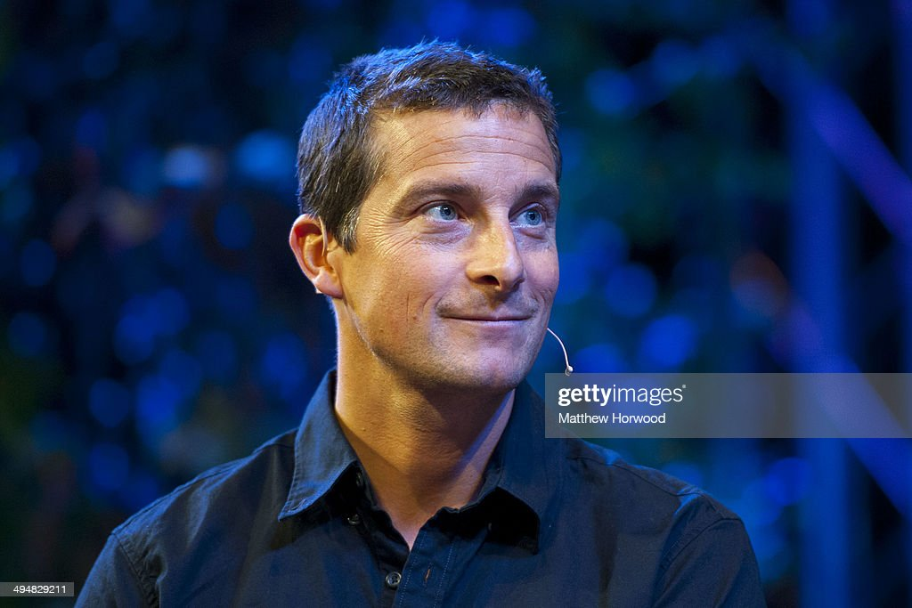 British adventurer <a gi-track='captionPersonalityLinkClicked' href=/galleries/search?phrase=Bear+Grylls&family=editorial&specificpeople=3061585 ng-click='$event.stopPropagation()'>Bear Grylls</a> at the Tata stage during the Hay Festival on May 31, 2014 in Hay-on-Wye, Wales. The Hay Festival is an annual festival of literature and arts which began in 1988.