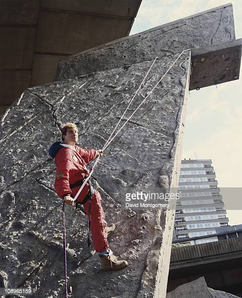 British adventurer Bear Grylls on a climbing wall September 1999