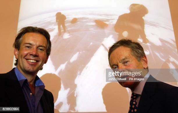 British adventurer Pen Hadow and author and entrepreneur Simon Murray at the Royal Geographical Society London where they were giving details of a...