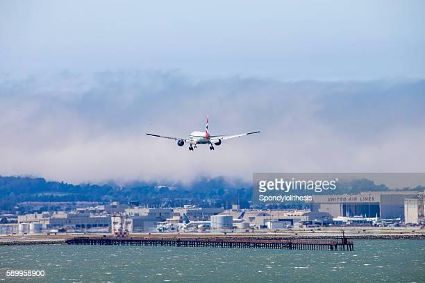 British Airline Airplane Landing to San Francisco Airport