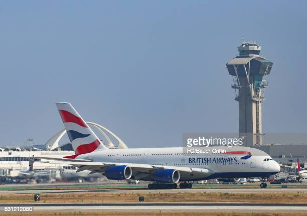 British Airways A380 Airbus lands at Los Angeles international Airport on August 13 2017 in Los Angeles California