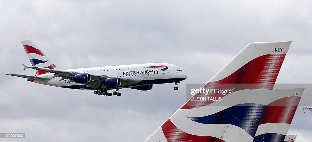 A British Airways Airbus A380 lands at Heathrow Airport in London on July 4 2013 British Airways is the first UK airline to take delivery of the A380...