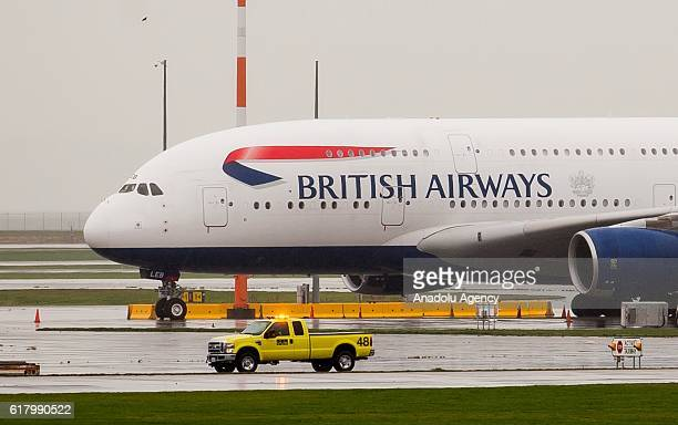 British Airways Airbus A380 sits on the outer tarmac at Vancouver International Airport in Richmond Vancouver on October 25 2016 At least 25 people...