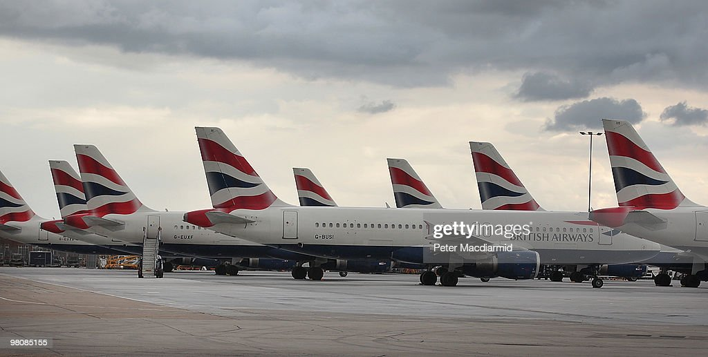 British Airways aircraft are parked on an apron at Heathrow airport during the first day of a strike by cabin crew on March 27 2010 in London England...