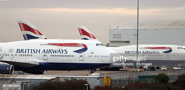 British Airways aircraft on the tarmac at London's Heathrow Ariport as members of the airline's cabin crew hold a 48 hour strike in a row over pay