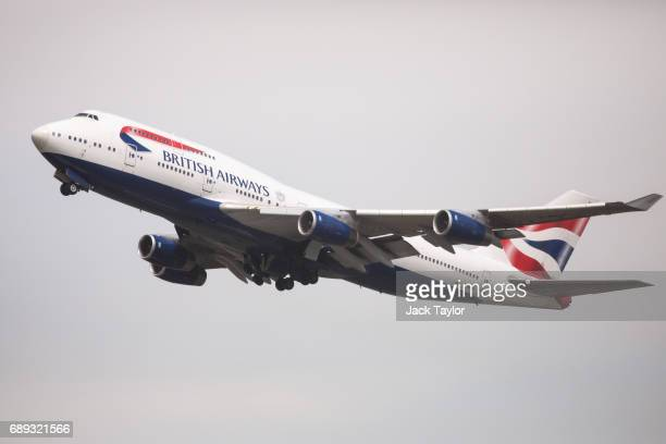 British Airways aircraft take off from Heathrow Airport Terminal 5 on May 28 2017 in London England Thousands of passengers face a second day of...
