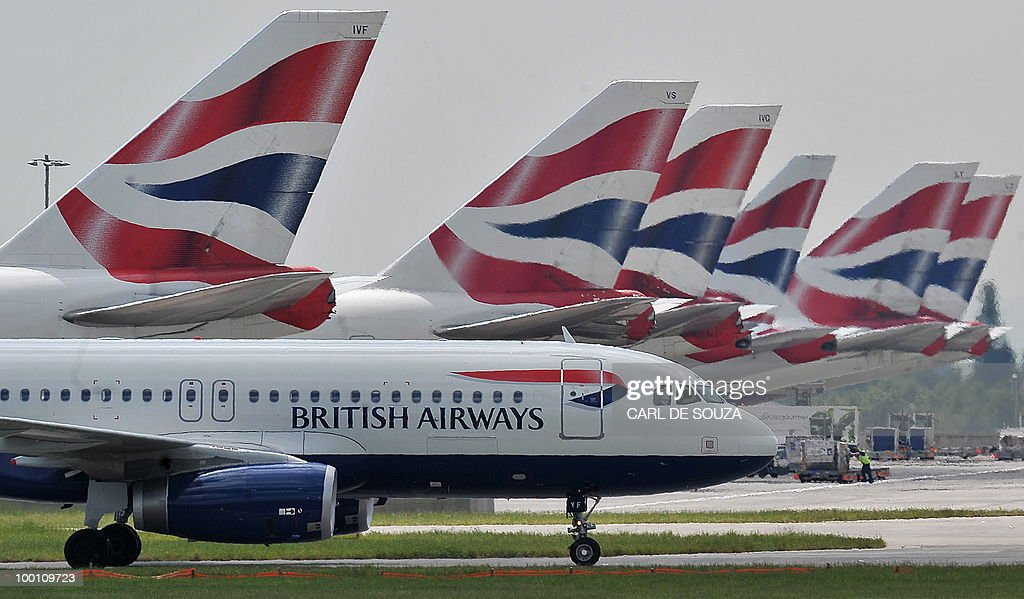A British Airways aircraft taxis past other parked British Airways aircraft at Terminal 5 of Heathrow Airport in west London on May 21, 2010. British Airways on Friday posted a record annual pre-tax loss of 531 million pounds (609 million euros, 765 million dollars) on slumping sales but forecast it would break even this year. BA, which faces a cabin crew strike next week, said its net loss widened to 425 million pounds in the 12 months to March from 358 million pounds in the previous year. Revenues tumbled 11.1 percent to 7.99 billion pounds.