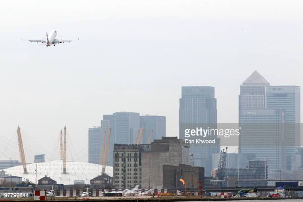 British Airways airplane takes off from London City Airport on March 17 2010 in London England Unite Union leaders are due to talk with with their...