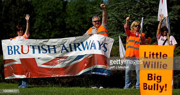 British Airways cabin crew form a picket line at Glasgow Airport on May 24 2010 in Glasgow Scotland The company's cabin crew have begun a fiveday...