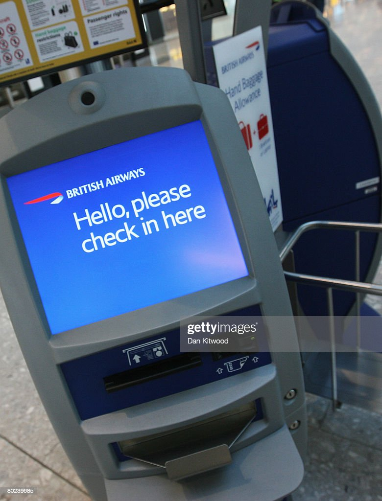 A British Airways check-in machine at the new Terminal 5 at Heathrow Airport, prior to its official opening on March 14, 2008 in London, England.