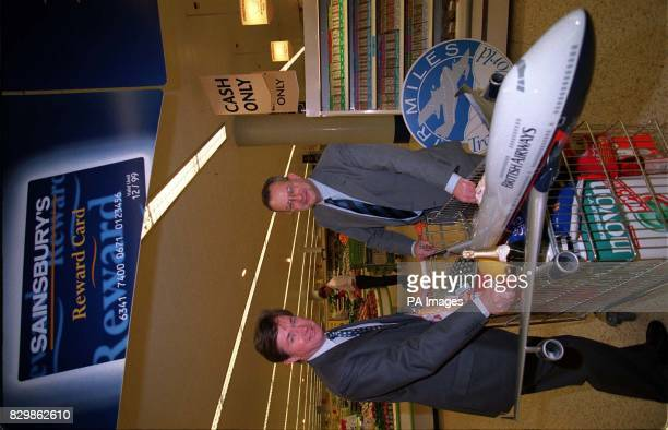 British Airways' Chief Executive Bob Ayling with David Sainsbury the Chairman of the Sainsbury's chain of supermarkets at the company's Cromwell Road...