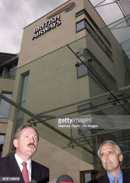 British Airways Chief Executive Rod Eddington with Kevin Curran boss of GMB trade union speak to the media outside British Airways headquarters near...
