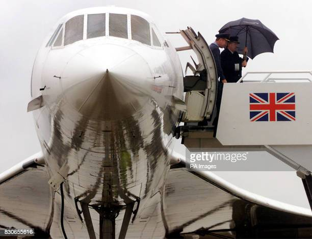 British Airways Concorde Alpha Foxtrot's pilot Captain Mike Bannister disembarks after safely landing at RAF's Brize Norton Airport Oxfordshire The...