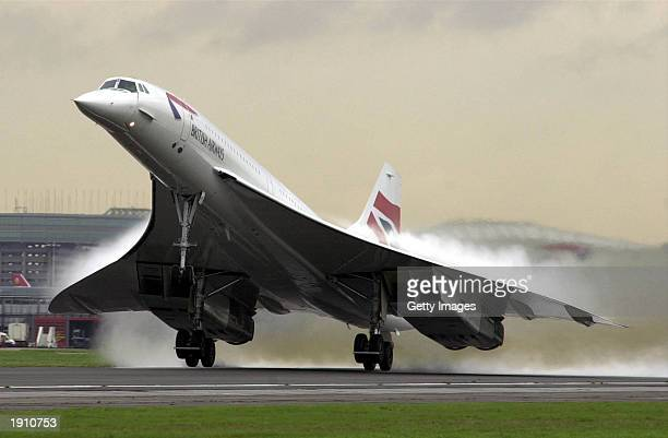 A British Airways Concorde takes off from Heathrow airport November 7 2001 in London United Kingdom British Airways and Air France announced April 10...