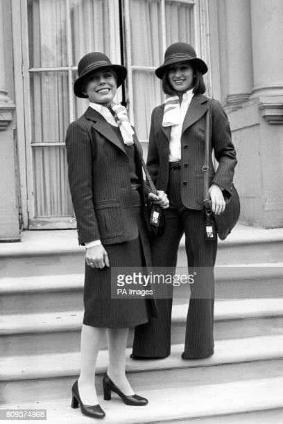 British Airways girls Roz Hanby ages 25 from London and Elinor Christie from Stirlingshire step out in London with the air of British gent about them...