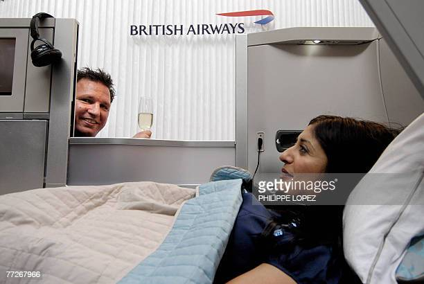 British Airways' new 'Club World' cabin is unveiled during a preview in Hong Kong 11 October 2007 The cabin is available in business class on all...