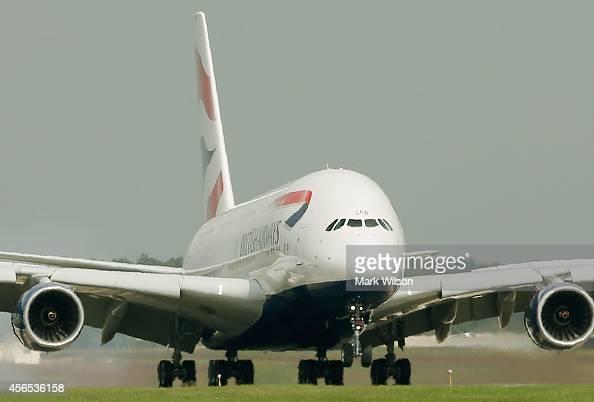 British Airways' new super jumbo Airbus A380 lands at Washington Dulles International Airport October 2 2014 in Dulles Virginia British Airways...