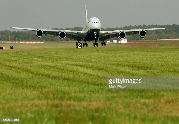 British Airways' new super jumbo Airbus A380 lands at Washington Dulles International Airport October 2 2014 in Dulles Virginia British Airways...