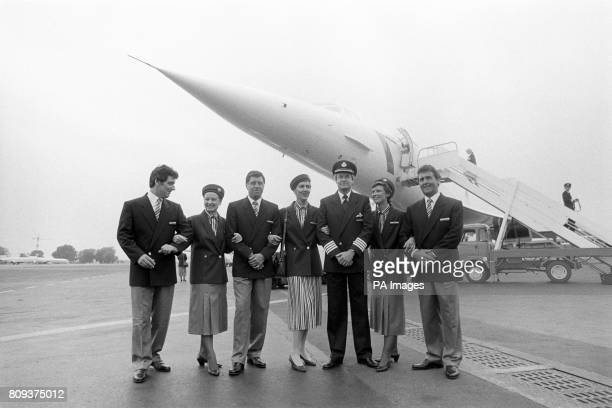 British Airways new uniform on display on the apron at Cannes Airport under the nose of Concorde Kept almost a secret as the Princess of Wales's...