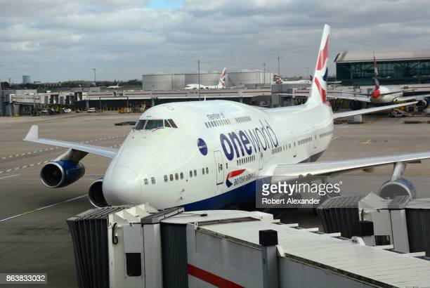 British Airways passenger jet parked at the gate at Heathrow International Airport in London England British Airways is a founding member of...