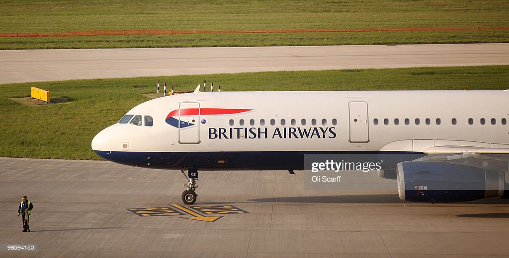 British Airways passenger plane is prepared for take off at Heathrow airport on April 21 2010 in London England Airlines are beginning to resume a...