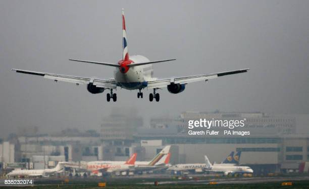 A British Airways passenger plane lands at Gatwick Airport in West Sussex as BAA are forced to sell the site and break their monopoly on airport...