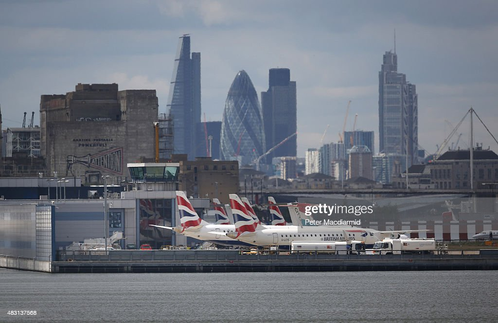British Airways passenger planes line up at London City Airport on August 6 2015 in London England US company Global Infrastructure Partners has...
