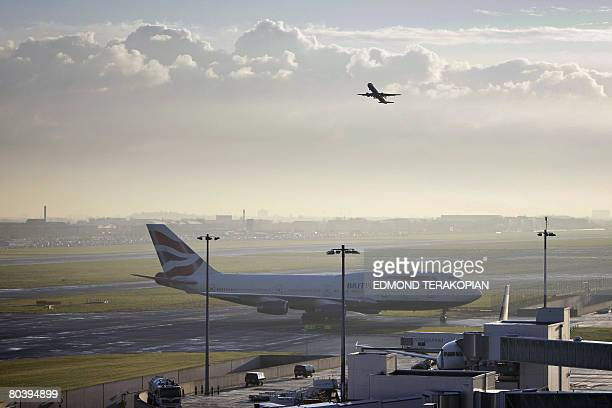 A British Airways plane is parked on the runway on March 27 2008 at the London Heathrow Terminal 5 which opened today to passengers The first ever...