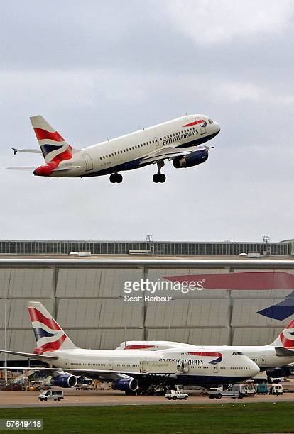 British Airways plane takes off from Heathrow Airport on May 18 2006 in London England British Airways will announce their Q4 and year end results...