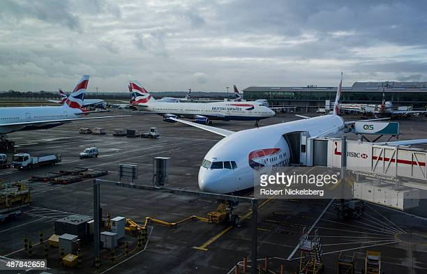 British Airways planes move in and out of Heathrow International Airport February 19 2014 in London England