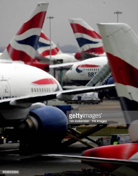 British Airways' planes on the tarmac at Heathrow Airport