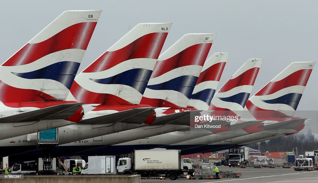 British Airways planes prepare for departure at Heathrow Airport on March 19, 2010 in London, England. The planned three day strike by BA cabin crew this weekend will now go ahead as talks between the airline and the union Unite collapsed earlier today.