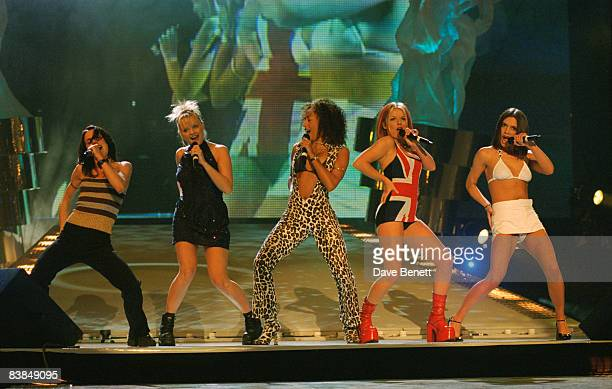 British allgirl singing group the Spice Girls at the Brit Awards where they won in the Best Video and Best Single categories 24th February 1997 Left...