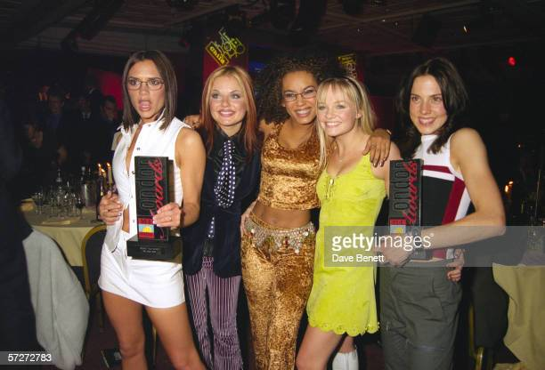British allgirl singing group the Spice Girls at the Capital Radio Awards London 26th March 1997 Left to right Victoria Adams Geri Halliwell Mel B...