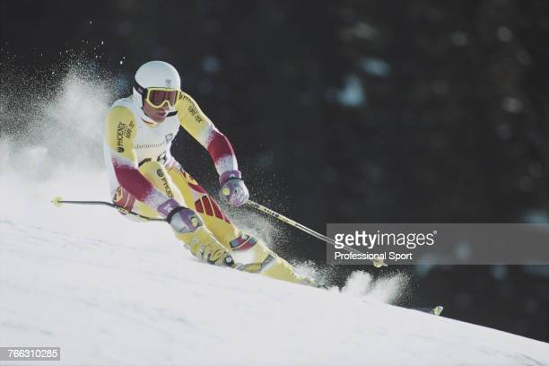 British alpine skier Spencer Pession pictured competing for the Great Britain team to finish in 31st place in the Men's giant slalom skiing event...