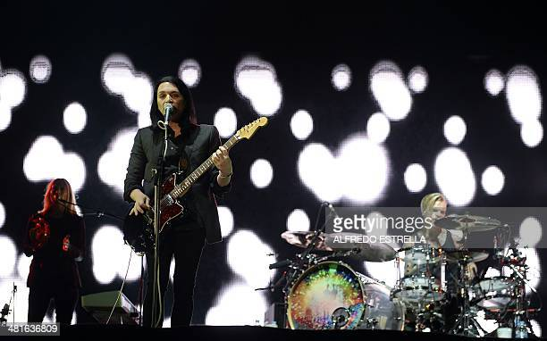 British alternative rock band Placebo performs during the fourth day of the Vive Latino music festival at the Foro Sol in Mexico City on March 30...