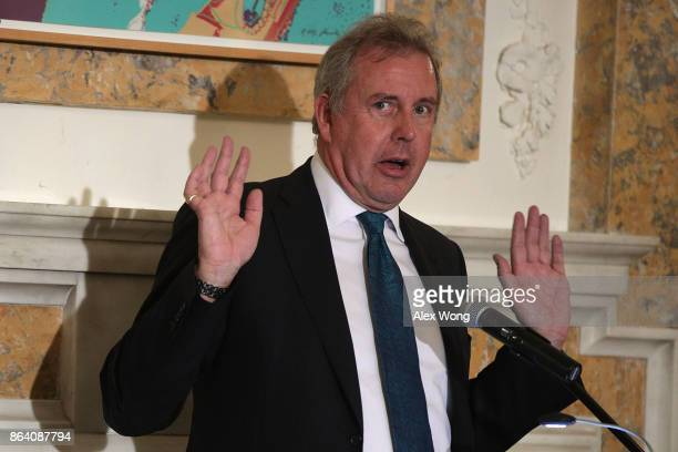British Ambassador to the US Kim Darroch speaks during an annual dinner of the National Economists Club at the British Embassy October 20 2017 in...