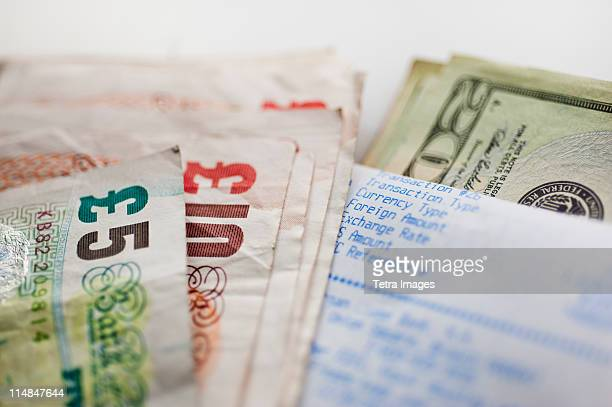 British and American paper currency, close-up