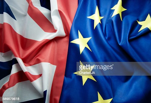 British and European flags Brexit concept : Stock Photo