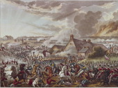British and French soldiers fighting during the Battle of Waterloo 18th June 1815 The farmhouse in the centre is 'La Haye Sainte' Drawn and etched by...