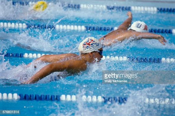 British and French swimmers compete in the Women's Butterfly trials in the 1984 Summer Olympic Games in Los Angeles CA