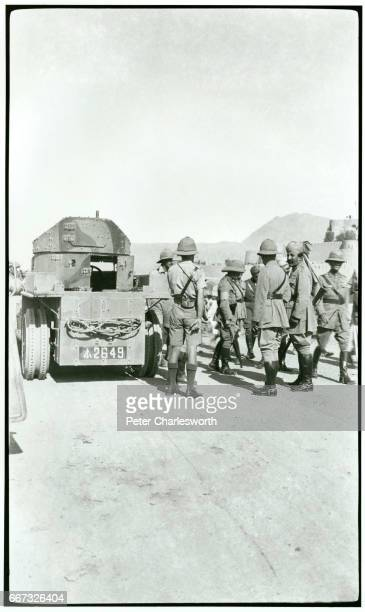 British and Indian soldiers with what is believed to be an armoured Rolls Royce near Jamrud Fort at the foot of the Khyber Pass Background to this...