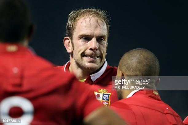 British and Irish Lions' Alun Wyn Jones looks on during the rugby match between New Zealand's Provinial Barbarians and the British and Irish Lions at...