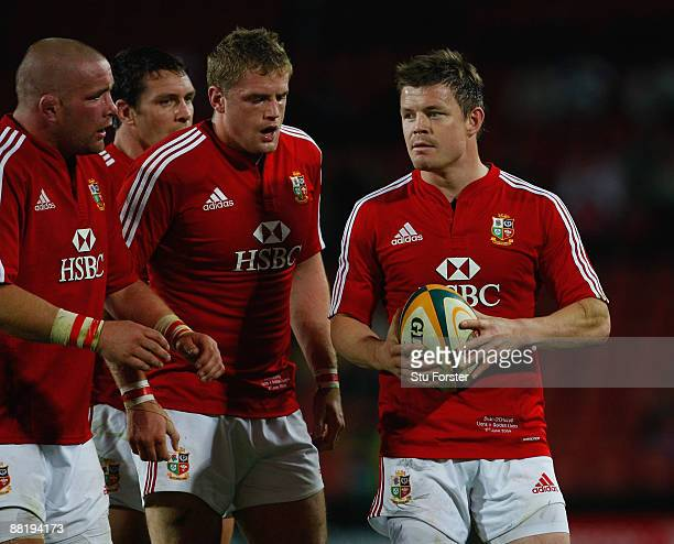 British and Irish Lions captain Brian O' Driscoll looks on during the match between the Golden Lions and The British and Irish Lions on their 2009...