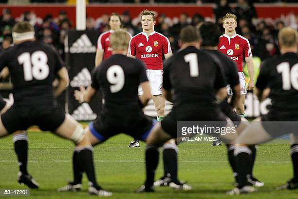 British and Irish Lions captain Brian O'Driscoll eyes up the New Zealand All Black haka during the first Test match in Christchurch 25 June 2005 The...