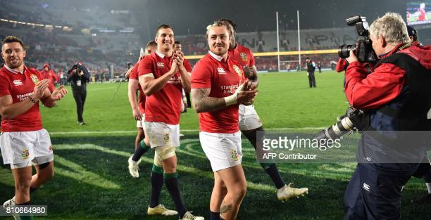 British and Irish Lions captain Sam Warburton thanks the fans with Jack Nowell Maro Itoje and Rhys Webb after the third rugby union Test match...