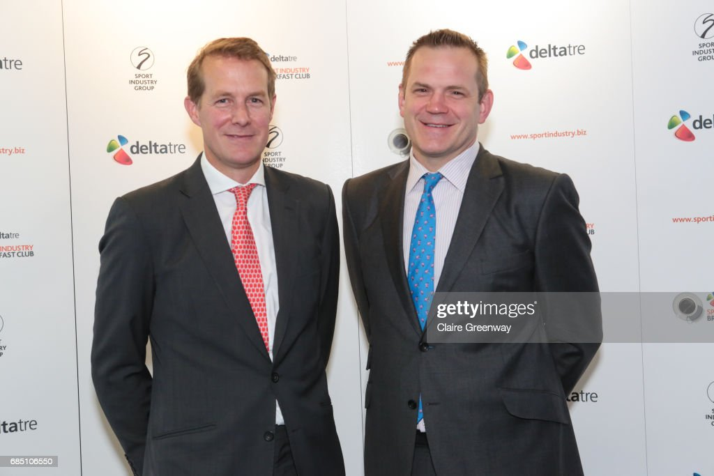 British and Irish Lions, Charlie McEwan (L) and CEO Saracens, Heath Harvey, attend The Sport Industry Breakfast Club, supported by Deltatre and hosted by BT Sport, at the BT Centre on May 19, 2017 in London, England.